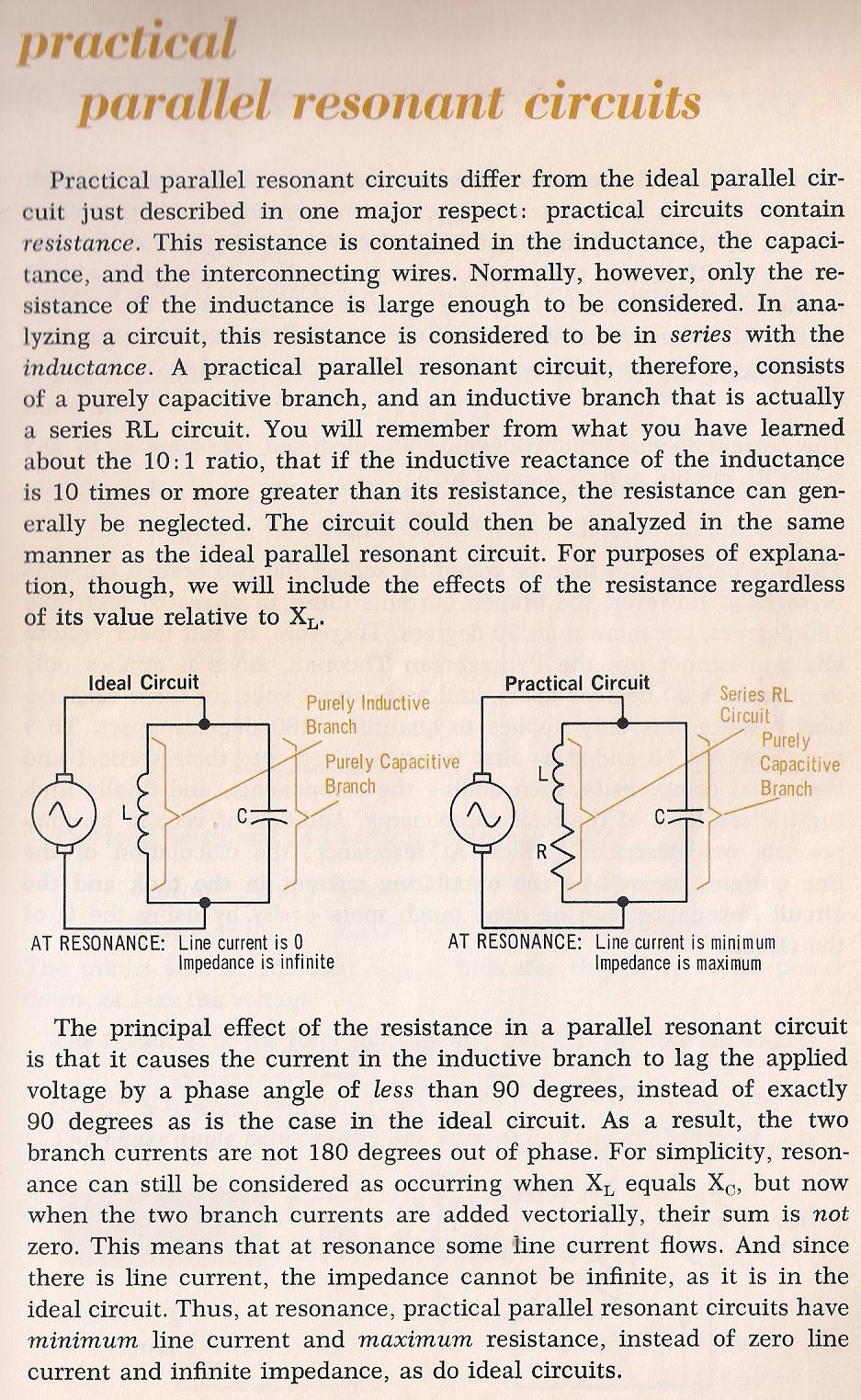 Rlc Circuits Impedance In A Parallel Resonance Circuit 078a Practical Resonant By Larry E Gugle K4rfe