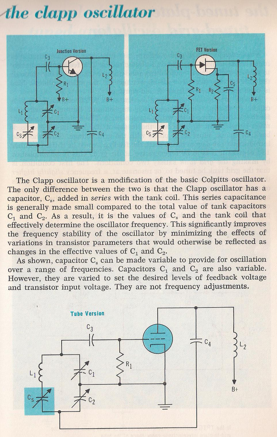 Oscillators The Colpitts Oscillator Circuit Consists Of A 019 Reinartz Larry E Gugle K4rfe 020